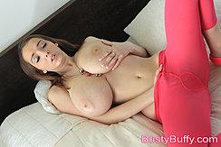 Legs Spread In Pantyhose Rubbing Pussy Fondling Breast