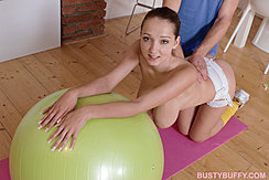 On Her Knees Leaning Against Ball Big Tits Hanging Down