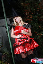 Wearing scarlet dress in witch hat